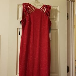 NWT Red Glitter Dress with Strappy Straps